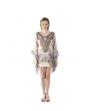 Cascade/ Raw (Min) Bubble Kaftan with Lace (BKNEMIW015)