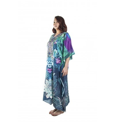 Nature/Vivid (Max) Long Kaftan with Tie Lace Up (LKOMAE01)