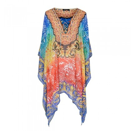 Short Kaftan Blue/Multi with Tie Lace Up (TK3503)