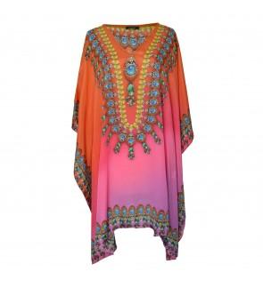 Short Kaftan Pink/Multi with V-Neck (SK1808)