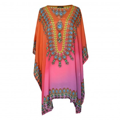 Short Kaftan Pink/Multi with V-Neck (SK1808)