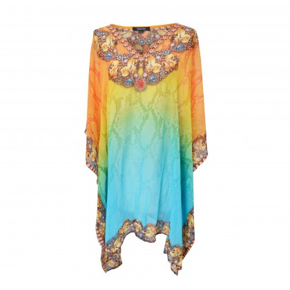 Short Kaftan Orange/Multi with V-Neck (SK1604)
