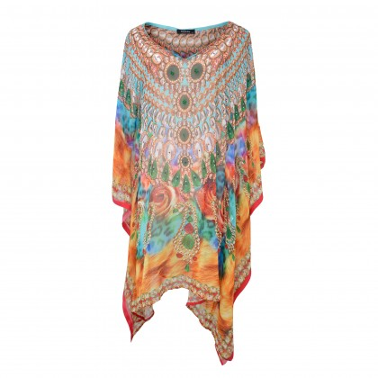 Short Kaftan Orange/Multi with V-Neck (SK1616)
