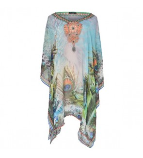 Short Kaftan Blue/Multi with V-Neck (SK1610)