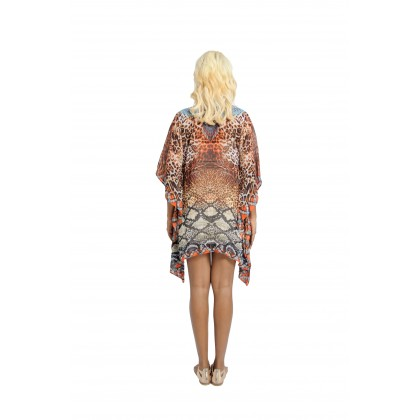 Short Kaftan Brown/Multi with Tie Lace Up (TK2292)