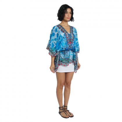 Short Kaftan Blue/Multi with Tie Lace Up (TK2282)