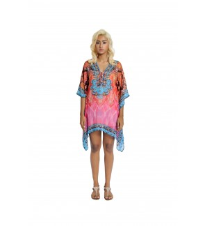 Short Kaftan Pink/Multi with Tie Lace Up (TK2295)