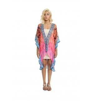 Hilo Cape Pink/Multi Short Kaftan (HLC2295)