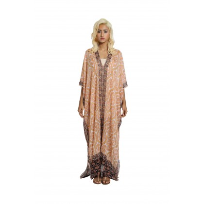Multi-ways Long Abaya Kaftan Beige/Multi (AK2263)