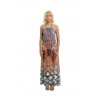 Tie Halther Neck Maxi Dress Brown/Multi (AD2292)