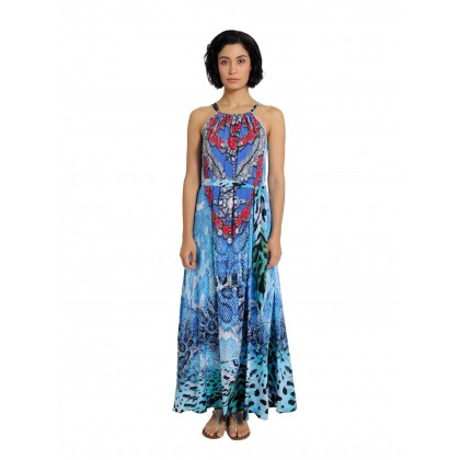 Tie Halther Neck Maxi Dress Blue/Multi (AD2282)