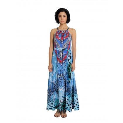 Tie Halther Neck Maxi Dress Blue/Multi (AD2282)