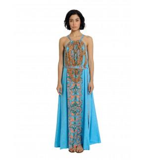 Tie Halther Neck Maxi Dress Blue/Multi (AD2224)
