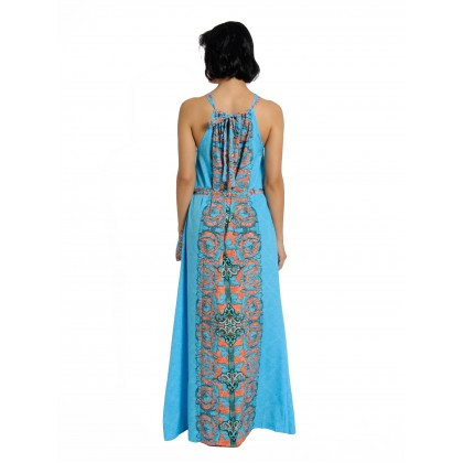 Tie Halther Neck Maxi Dress Blue/Multi (AD2224)